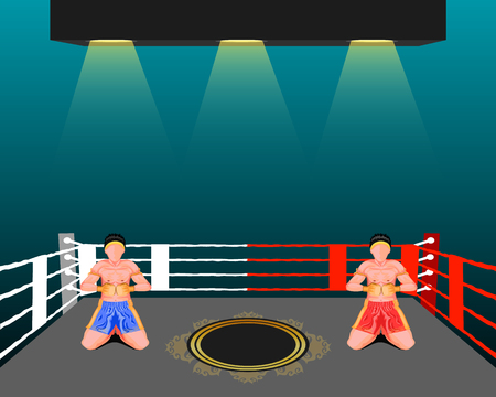 thai boxing vector illustration