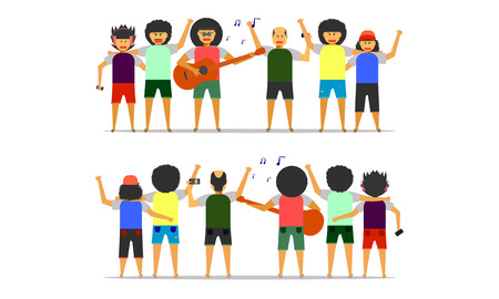 boy man friendship party together front-back view vector illustration ep10