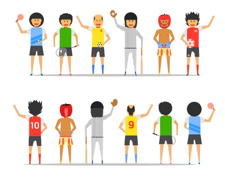 boy man group friendship sport together front-back view vector illustration ep10 Banque d'images - 122254054