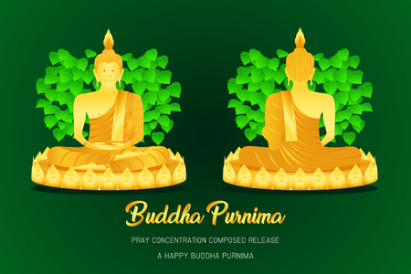 happy buddha purnima monk phra buddha front - back view pray concentration composed release pho leaf religion culture faith vector illustration eps10