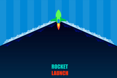 rocket launch open product item detail background dark blue tone vector illustration eps10 Иллюстрация