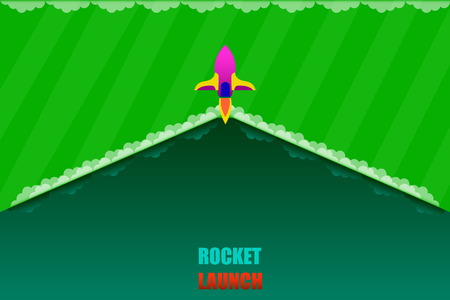 rocket launch open product item detail background green tone vector illustration eps10