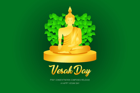 vesak day monk phra buddha pray concentration composed release front of pho leaf religion culture faith vector illustration eps10