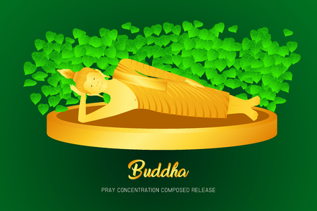 buddha golden sleep monk phra pray concentration composed release front of pho leaf religion culture faith vector illustration eps10