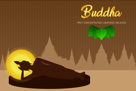 silhouette buddha sleep monk phra pray concentration composed release front of pho leaf religion culture faith vector illustration eps10