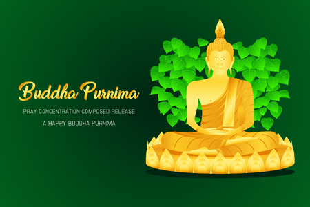 happy buddha purnima monk phra buddha pray concentration composed release front of pho leaf religion culture faith vector illustration eps10