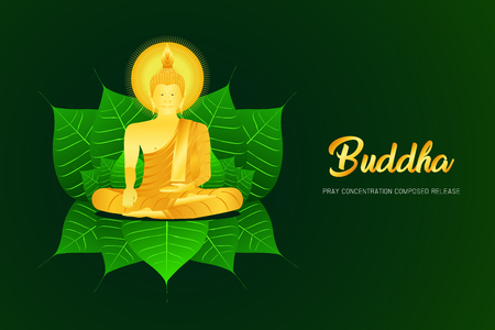 monk phra buddha pray sit on pho leaf concentration composed release religion culture faith vector illustration eps10 Illustration