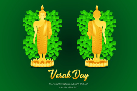 vesak day buddha monk phra stand front - back view pray concentration composed release front of pho leaf religion culture faith vector illustration eps10