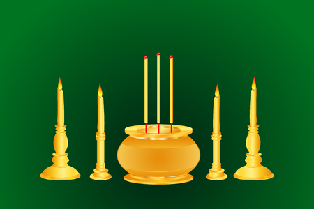 incense candle base thai india chinese gold color vector illustration Illustration
