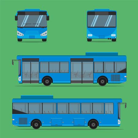 the blue bus NGV driver fare passenger autobus omnibus coach rail bench chair stool armchair seat mattress bolster hassock pad vector illustration