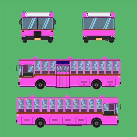 thai pink bus transport car vehicle driver fare passenger autobus omnibus coach rail bench chair stool armchair seat mattress bolster hassock pad vector illustration Illustration