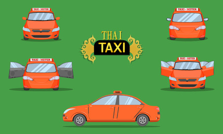thai taxi cap car front back side view transport service passenger vehicle type orange vector illustration Stock Illustratie