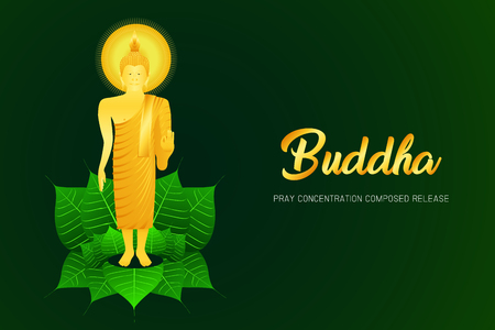 monk phra buddha pray stand on pho leaf concentration composed release religion culture faith vector illustration