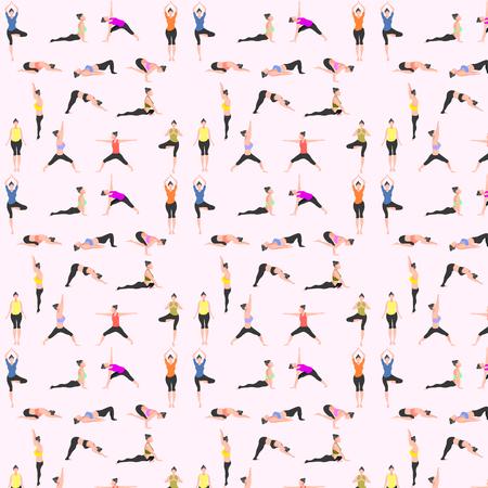 patrón transparente conjunto de yoga. pose femenina montaña hacia abajo perro guerrero árbol puente triángulo cobra paloma cuervo. ilustración vectorial