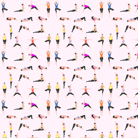 wzór zestaw jogi. kobieta poza pies górski w dół wojownik drzewo most trójkąt kobra gołąb wrona. ilustracja wektorowa