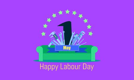 happy labour day 1 may. sofa celebrating on vacation time.engineering design concept with screwdriver wrench ruler vernier caliper cheater bar.vector illustration eps10