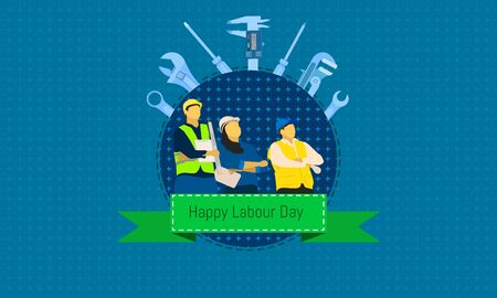 happy labour day 1 may. male and female standing looking at sky. engineering design concept with screwdriver wrench ruler vernier caliper cheater bar.vector illustration eps10