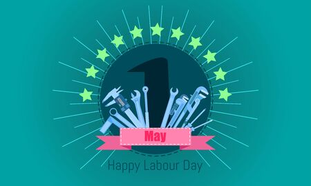 happy labour day 1 may. engineering design concept with screwdriver wrench ruler vernier caliper cheater bar.vector illustration eps10