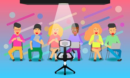 we want you. hiring and new jobs team members. a chair for candidate. join us. vector illustration eps10