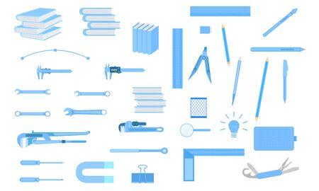 set of tool equipment for engineer education design artist technicain. vector illustration eps10.
