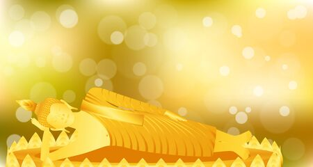 monk phra buddha sleeping meditation on gold lotus base for pray concentration composed release. colorful background. vector illustration eps10 Illustration
