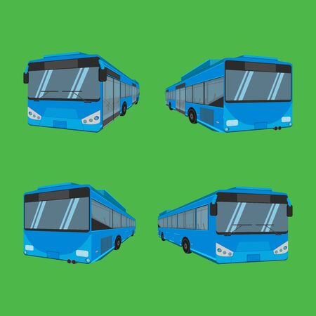 3d. the blue bus NGV driver fare passenger autobus omnibus coach rail bench chair stool armchair seat mattress bolster hassock pad vector illustration eps10