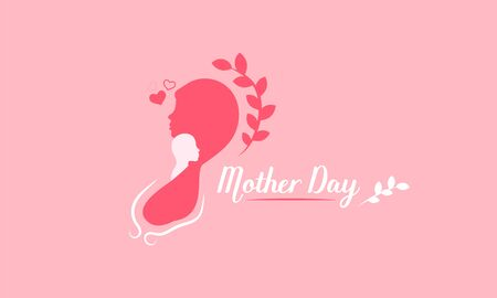 happy mothers day. mini heart love sign. lady hold child on her shoulder. silhouette style. vector illustration eps10