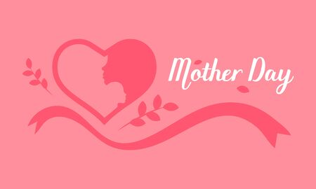 happy mothers day. lady hold child on her shoulder in the heart area. vector illustration eps10