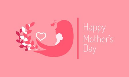 happy mothers day. mini heart love sign. lady hold child on her shoulder and branch leaf swaying follow moms hair. silhouette style. vector illustration eps10  イラスト・ベクター素材