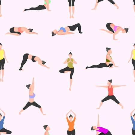 pattern seamless set of yoga. female pose mountain downward dog warrior tree bridge triangle  cobra pigeon crow. vector illustration eps10
