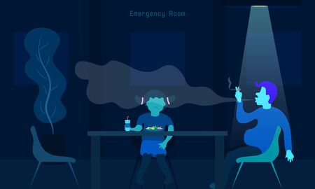 world no tobacco day. why daddy smoking when i eat some food. your children say. dinner in emergency room with my father.  vector illustration eps10