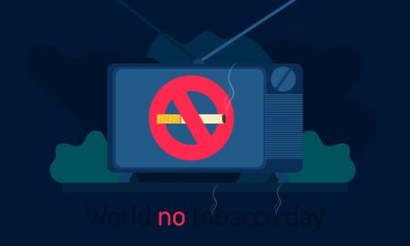 world no tobacco day. tv - televison show no smoking. abstract shape background. vector illustration eps10