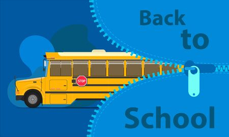 back to school bus education concept. open the big bag to study time. prepare your children. vector illustration eps10