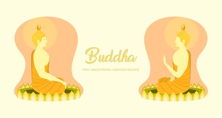 monk phra buddha left right side view sitting on lotus base for pray concentration composed release. pastel color background. vector illustration eps10 Illustration