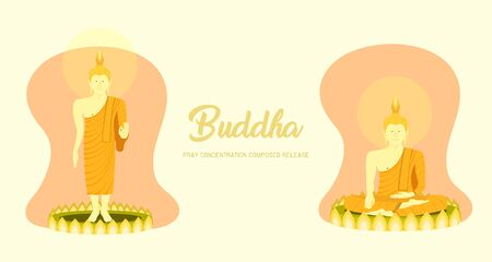 monk phra buddha sitting and standing on lotus base for pray concentration composed release. pastel color background. vector illustration eps10
