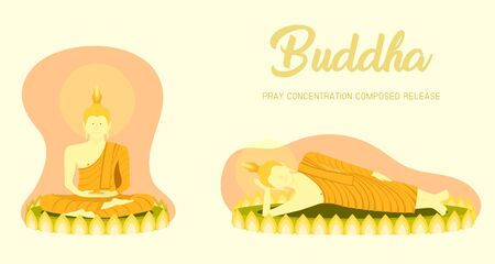 monk phra buddha sitting and sleeping on lotus base for pray concentration composed release. pastel color background. vector illustration eps10