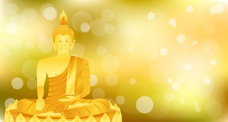 monk phra buddha sitting meditation on gold lotus base for pray concentration composed release. colorful background. vector illustration eps10 Illustration