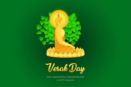 vesak day monk phra buddha sitting on lotus base for pray concentration composed release front of pho leaf religion culture faith vector illustration eps10