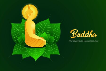 monk phra buddha side view sitting on pho leaf for pray concentration composed release religion culture faith vector illustration eps10