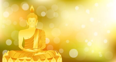 monk phra buddha sitting lotus base for pray concentration composed release. colorful background. vector illustration eps10