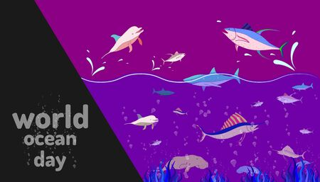 community ocean animal. world ocean day. colorful design style. vector illustration