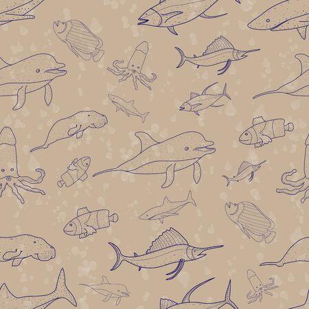 pattern seamless set of ocean animal. world ocean day. doodle hand drawing design style. vector illustration eps10 Ilustração