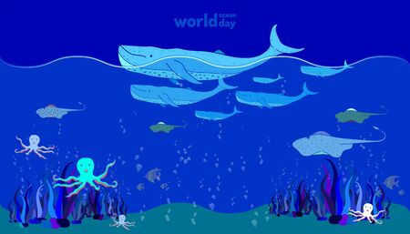 world ocean day. sea animal life. doodle hand drawing colorful design style. vector illustration eps10