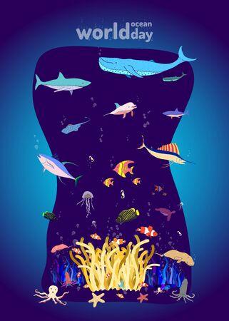 the aquarium. under ocean life. colorful design style. vector illustration eps10