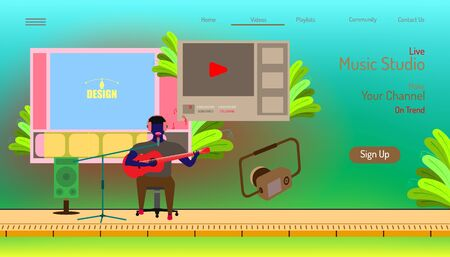 landing page website template. live music studio. make your channal on trend. video editor contents. beauty color background. vector illustration eps10 Çizim