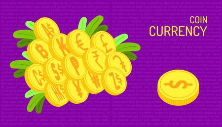 the coin currency. beautiful color purple background. vector illustration