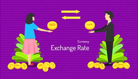 the currency exchange rate. male and female transfer money different type of coin. number background. vector illustration