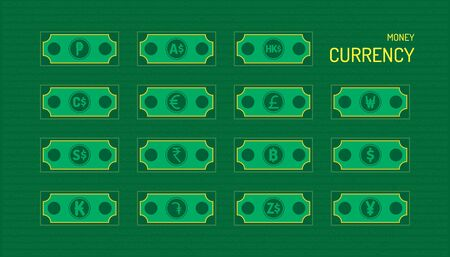 the money currency. beautiful color green background. vector illustration Ilustracja