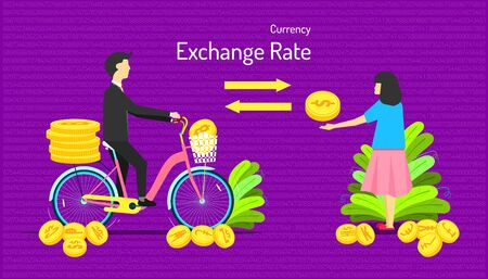 the currency exchange rate. transfer money different type of coin. male give many medal to female one medal. number background. vector illustration