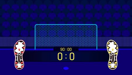 soccer field. football boots different team match show name bar time and score on center point. a goal in front of fan club chair. beautiful color background. vector illustration